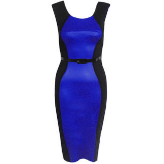 View Item Blue Belted Contrast Bodycon Curve Dress